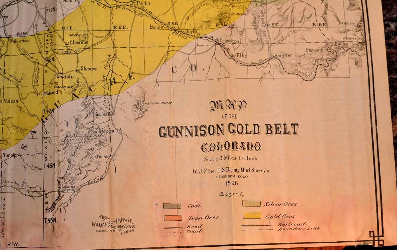 Crystal Colorado Map.Gunnison Gunnison County Colorado Rare Books Western Americana