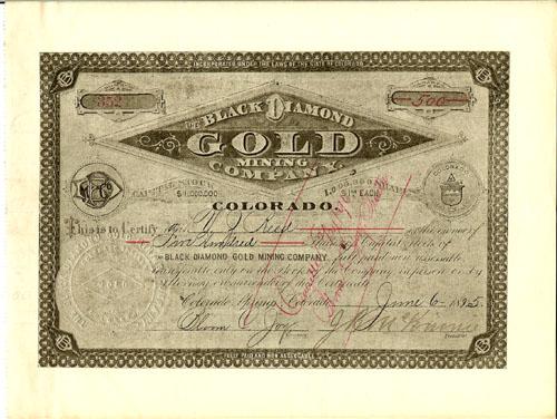 Rose Nicol Gold Mining Company Stock Certificate Colorado Springs