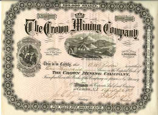 Colorado mining stock certificates, Mt. Gothic Tomes and Reliquary