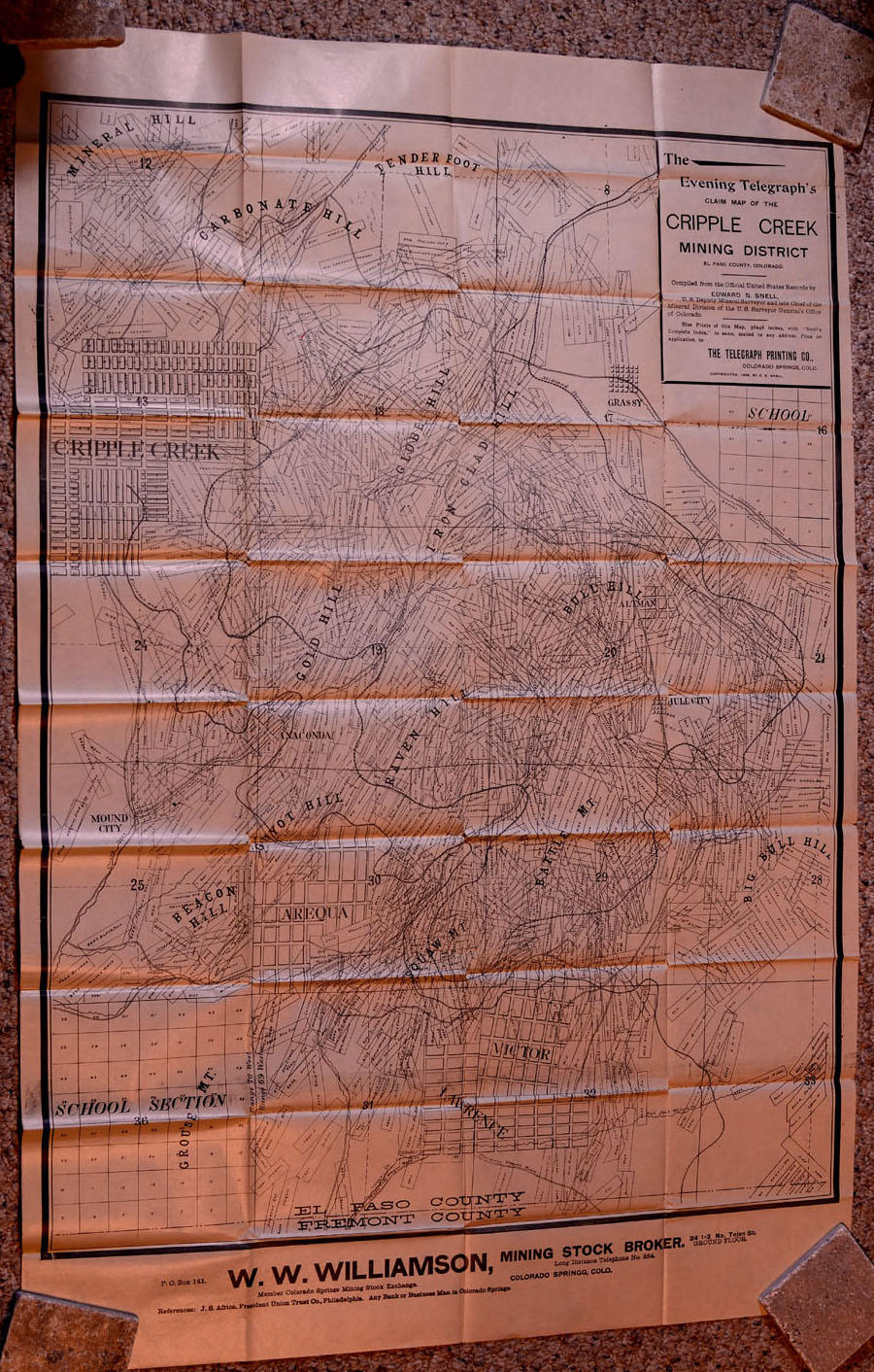 Colorado Maps Scarce And Antique MT GOTHIC TOMES AND RELIQUARY - Us mining map counties