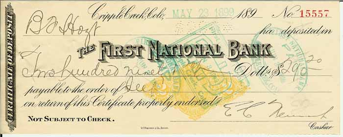 Certificate of Deposit. Dated May 23, 1899. Revenue imprinted