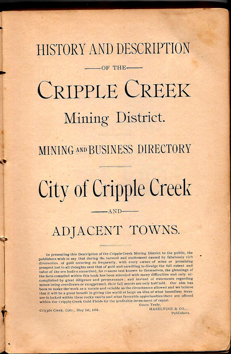 hindu single men in cripple creek World's greatest gold camp: cripple creek, part 2 the mines  over 8,000 men were employed by cripple creek's gold mines in 1900.