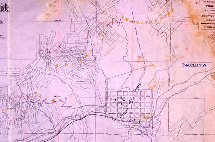 Map of the Ouray Gold District, Ouray County, Colorado, 1890 ...