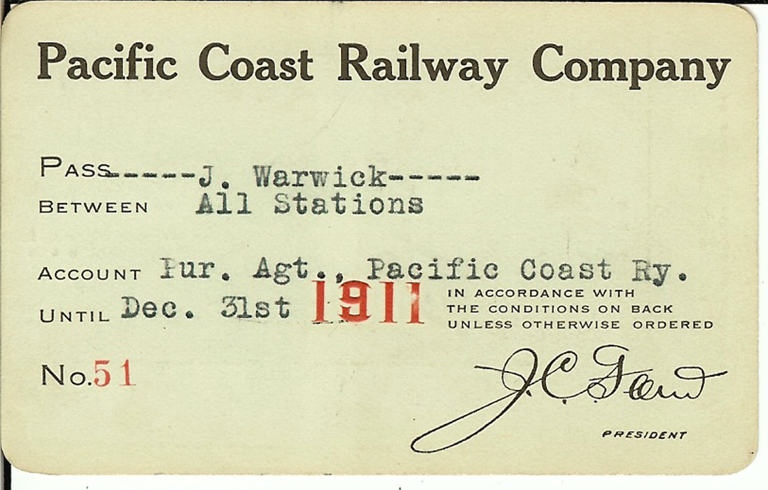 Railroad Passes railroads throughout the United States ... Pacific Railway Company
