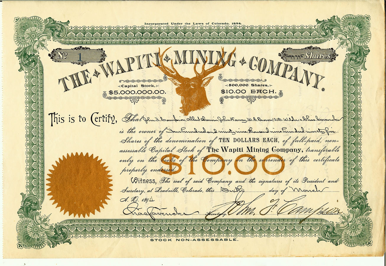 Colorado mining stock certificates mt gothic tomes and reliquary the wapiti mining company xflitez Gallery